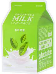 A'PIEU Успокаивающая тканевая маска с экстрактом зеленого чая и гамамелиса  Green Tea Milk One-Pack