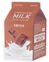 A'PIEU Смягчающая тканевая маска с экстрактом какао и сливы  Chocolate Milk One-Pack