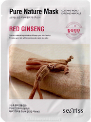 Тканевая маска с экстрактом красного женьшеня Pure Nature Mask Pack Red Ginseng